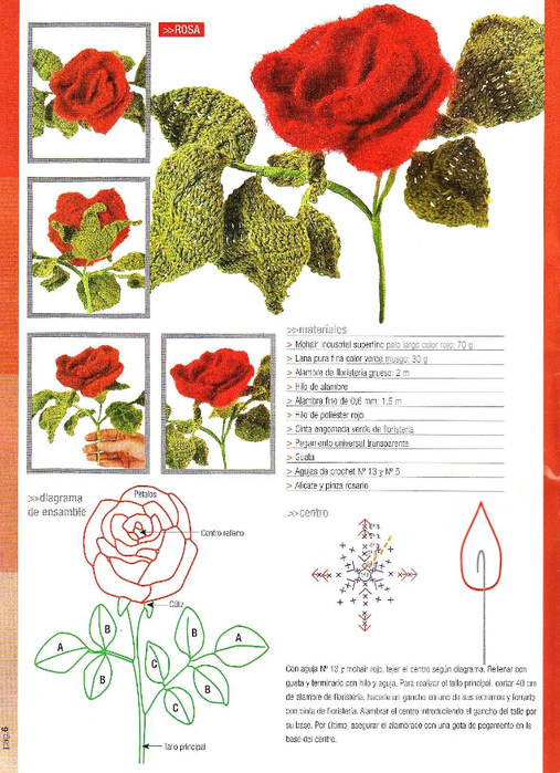 Вязание крючком роза на стебле схема