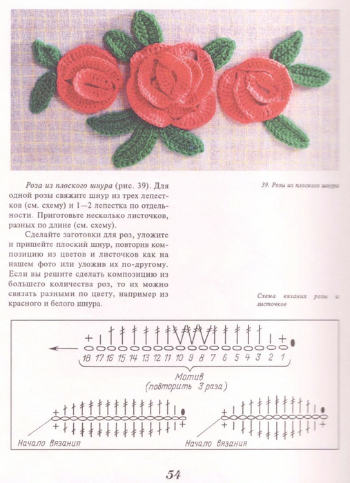 Схема вязания розочки или цветка
