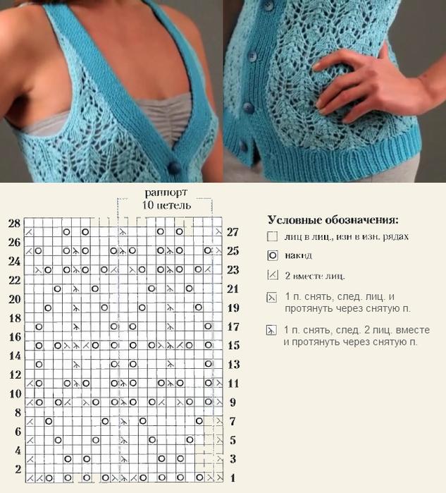 Вязание спицами ажурный жилет 11