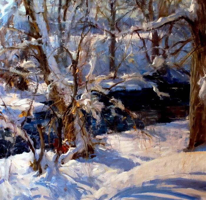 bear creek in snow, 48x48, sold (700x678, 593Kb)