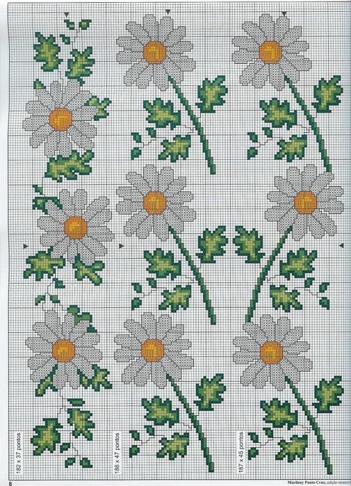 Схемы вышивки крестом ромашки все 141