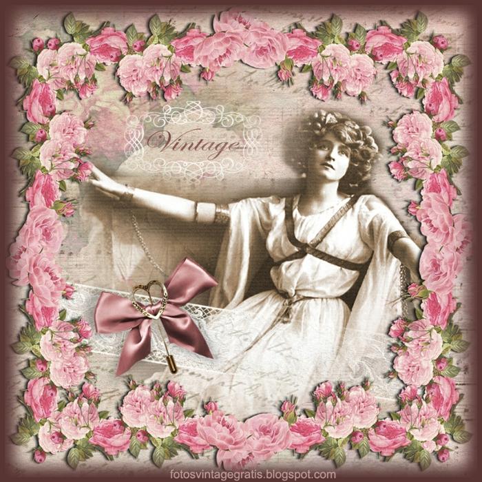 fondo vintage con dama y flores (700x700, 446Kb)