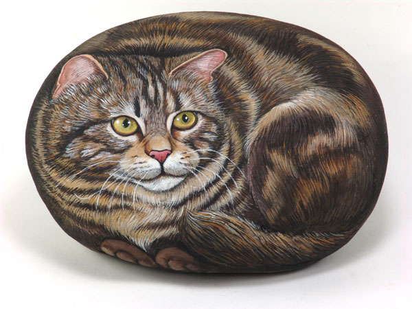 Коты нарисованные на камне