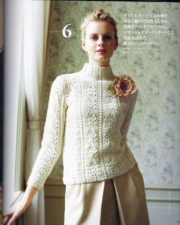 Белый свитер,вязание спицами