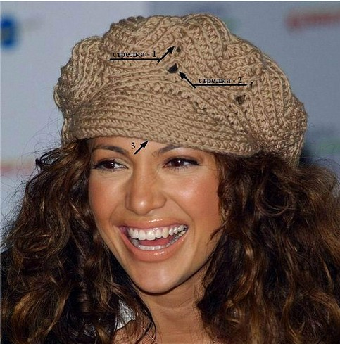 Женская кепка вязаная крючком