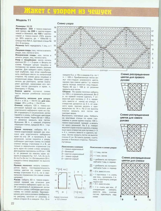 Схема вязания узора чешуйки спицами