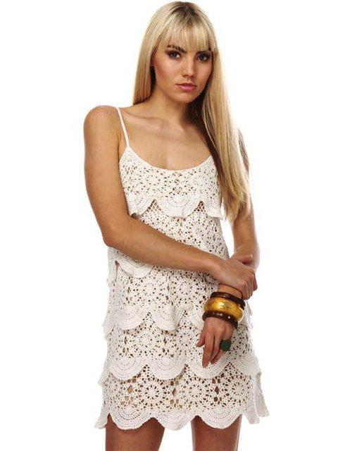 Платье крючком. Безотрывное вязание.