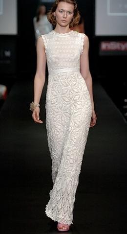 <белое вязаное платье схема