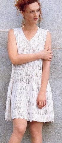 Схема вязания крючком белое платья