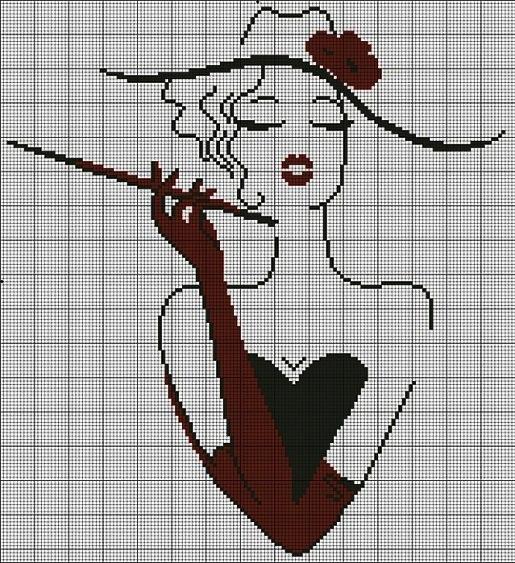 схемы вышивки крестом дамы.