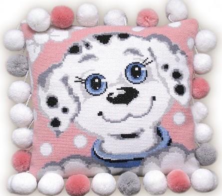 """В набор для вышивания  """"Подушка  """"Далматинец """" от компании Риолис входят: 7 цветных шерстяных ниток, канва белая..."""