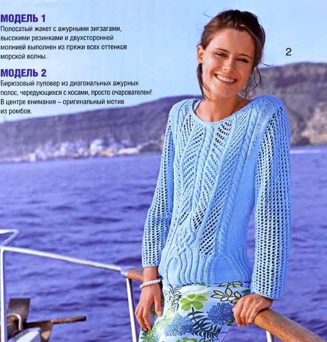 Бирюзовый ажурный пуловер