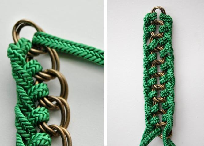 Затем, в конце всех плетений, веревки необходимо между собой сшить, чтобы плетение не расползалось и пришить пуговицу...