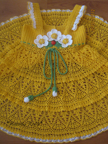 crochet spring and summer lace dress for little girls