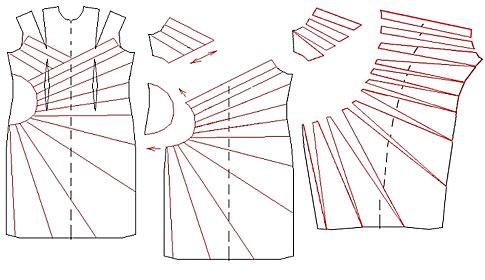 Платье с декоративным элементом и складками