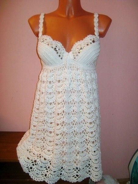 Платье Узором Ракушки Крючок