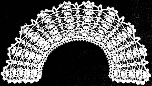 Вязание воротников крючком.  Образцы и схемы вязания.