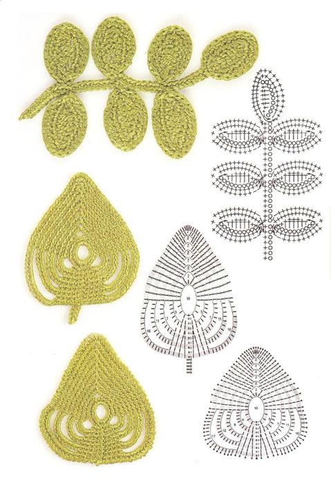 Вязание листочков крючком.