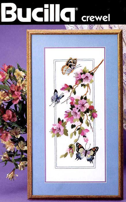 Бабочки и веточка – вышивка гладью