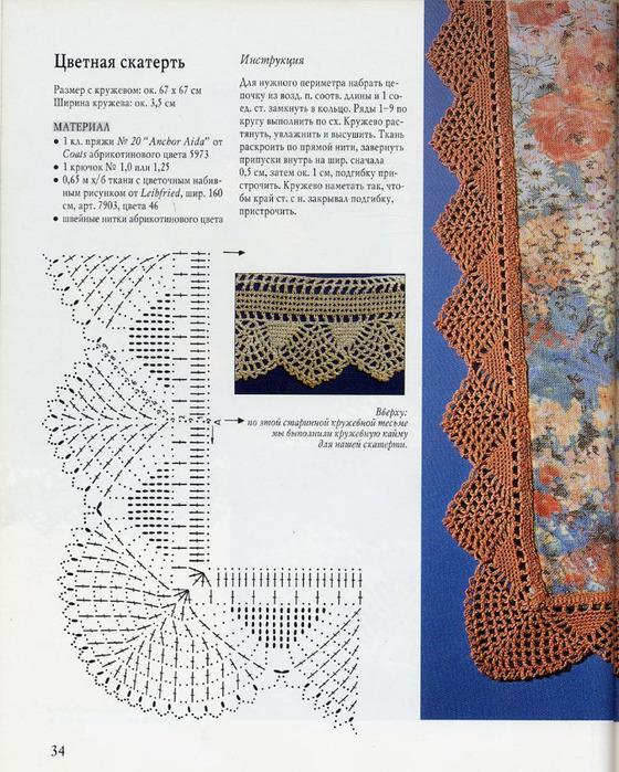 Кайма скатерти вязание крючком