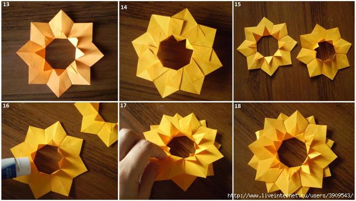 Подсолнух из оригами своими руками
