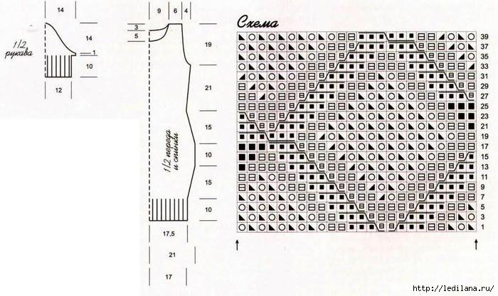 Платье сетчатым узором схема (700x417, 165Kb)