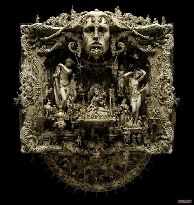 Kris Kuksi скульптуры 4 (665x700, 297Kb)