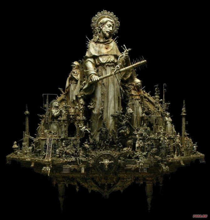 Kris Kuksi скульптуры 11 (669x700, 202Kb)