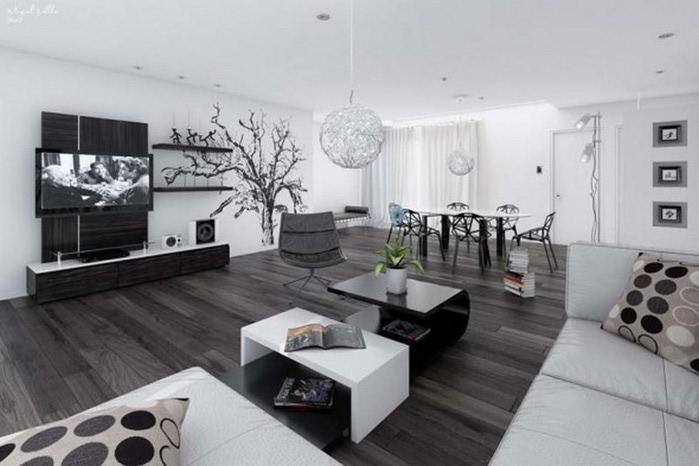 Черно-белый дизайн квартир 12 (700x466, 69Kb)