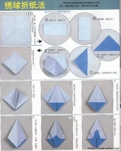 Модульное оригами - схема сборки куклы из Страны Восходящего Солнца.
