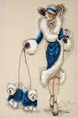 Дамы с собачками в синем и