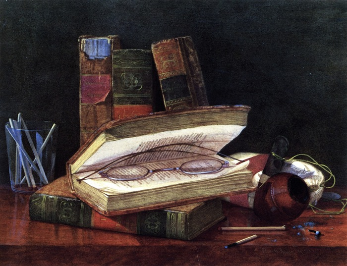 Still LIfe with Books and Spectacles (700x537, 139Kb)