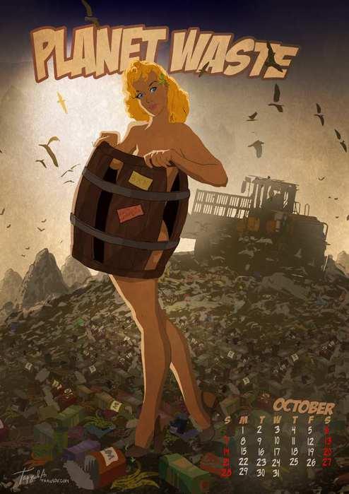 Апокалиптический календарь Андрея Тарусова в стиле пинап