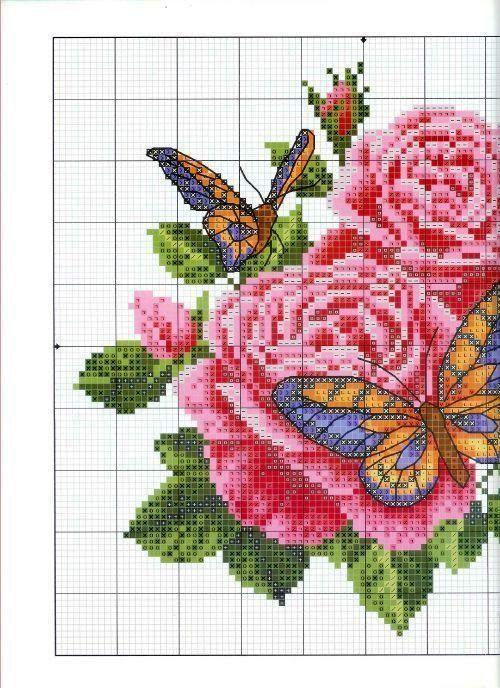 Бабочки и розы вышивка крестом