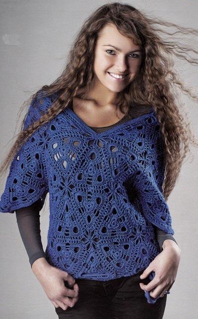 Синий пуловер из треугольников