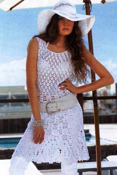 Белое платье крючком. крючки 3, 3.5.