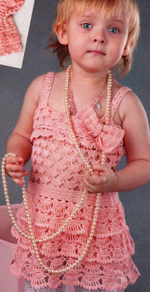 Вязаный детский сарафан схема.  Ажурный сарафан для девочки 2 лет связан крючком 2. Пряжа 100% хлопок.