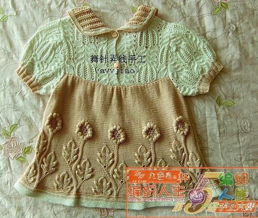 Платье для малышки с ажурной кокеткой и рукавами связано спицами,подробности по фото/4683827_20120705_093220 (522x441, 125Kb)