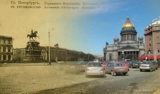 Городские пейзажи Петербурга в прошлом и настоящем 8 (640x377, 69Kb)
