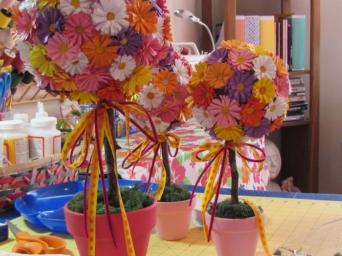 Поделки цветов в горшках