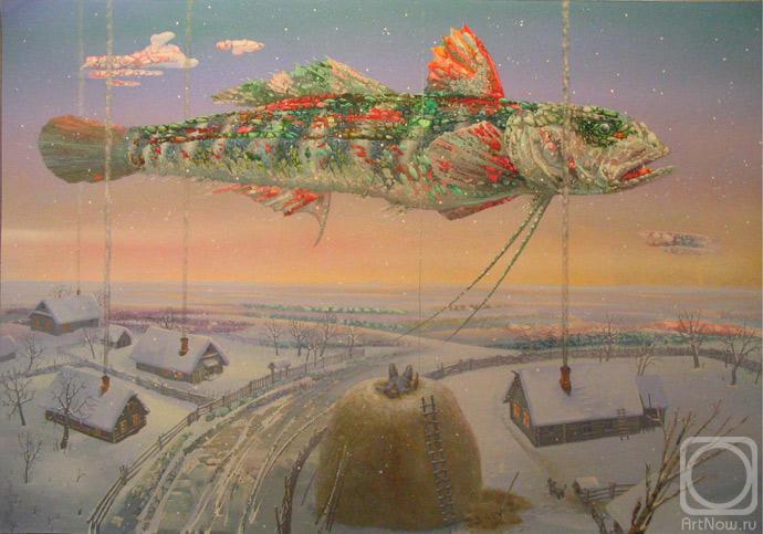 18 Полет рыбы в вечернем небе над зимней деревней (690x483, 50Kb)