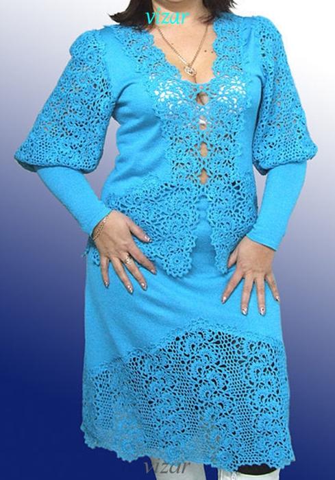 Вязание платья на полных женщин 47