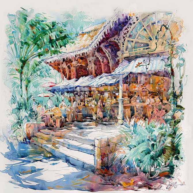 картины акварелью Jack Tia Kee Woon (670x670, 191Kb)