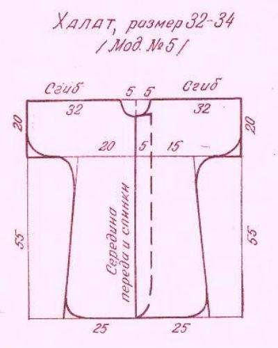 Выкройка махрового халата для ребенка - Выкройка