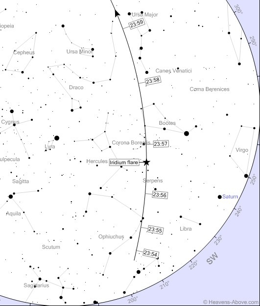 Вспышка произойдет в 23:56:40 на высоте 46 гр над Ю-З частью горизонта. В Саратове - 7зв. вел., в Энгельсе максимальный блеск -8 зв. вел.