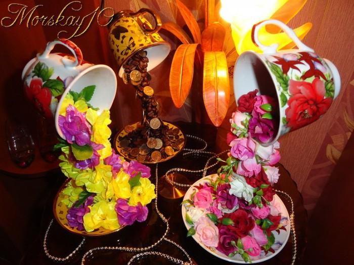 Чашка с цветами своими руками фото