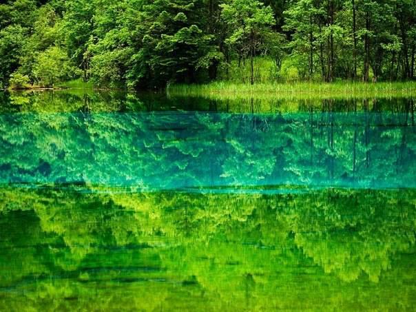 Озеро Пяти цветов, Китай. Небо и земля отражаются в озере Пяти цветов, причудливо окрашенном минеральными солями и водяными растениями (604x453, 381Kb)