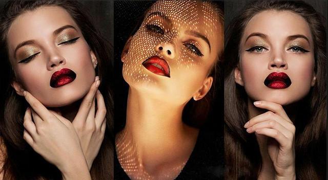 Как сделать черное фото с красными губами