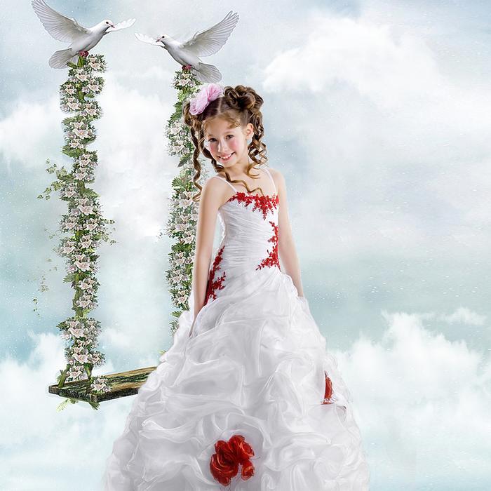 Шаблон детский - Воздушные качели (700x700, 434Kb)