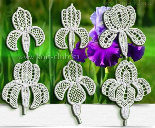 Вязание цветов-ирисов крючком